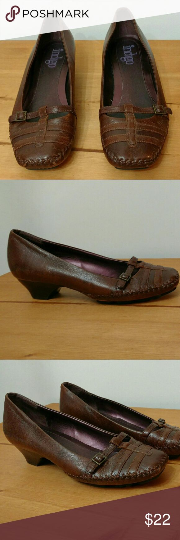 Leather Indigo Low Heel Loafers sz 8 Pre-loved Indigo loafers in gorgeous brown leather. Low heel and comfortable rubber flex sole. Some minor scuffing on back heels as pictured but overall good condition. Size 8.  SUPER fast same day or next business day shipping!! Indigo Shoes