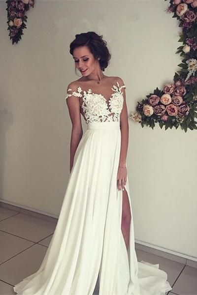 See-through Short Sleeve Lace Appliqued Long Beach Wedding Dress,Ivory Chiffon Bridal Dress,N234