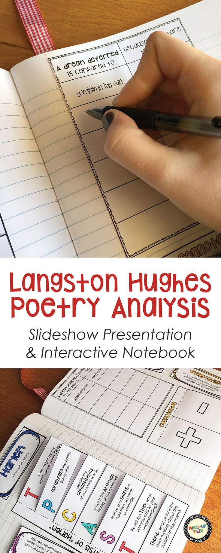 """My middle school students were so engaged with this poetry analysis lesson! It has a colorful slideshow about Langston Hughes' poem """"Harlem"""" and foldables for interactive notebooks. Not sure whether the kids favorite part was unscrambling the lines of the poem (What happens to a dream deferred?) or analyzing the Nike commercial that uses the poem; they loved both!"""