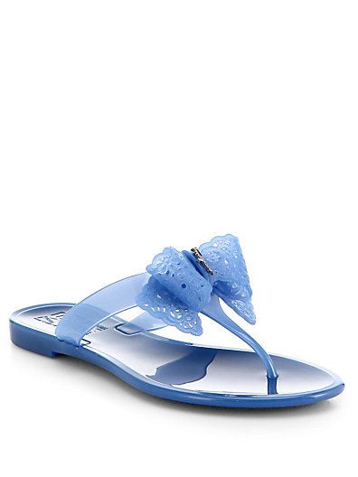 Salvatore Ferragamo - Pandy Bow Jelly Thong Sandals - Saks.com