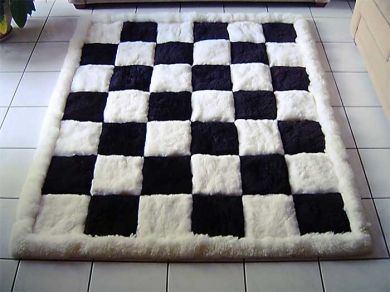 chess bed spreads | ... alpaca fur carpet, black and white, chess design (Powered by CubeCart