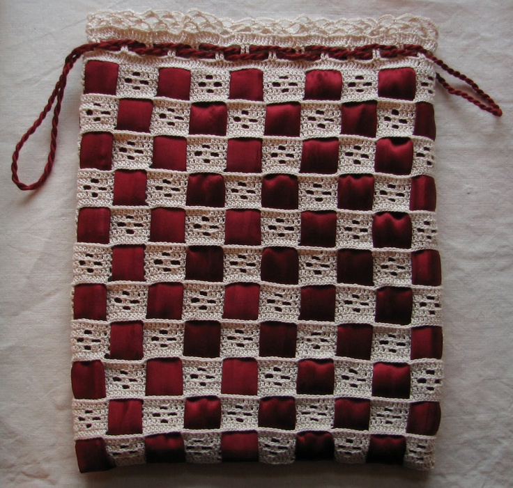 Arachne's Blog: Crocheted Reticule with Silk Ribbons