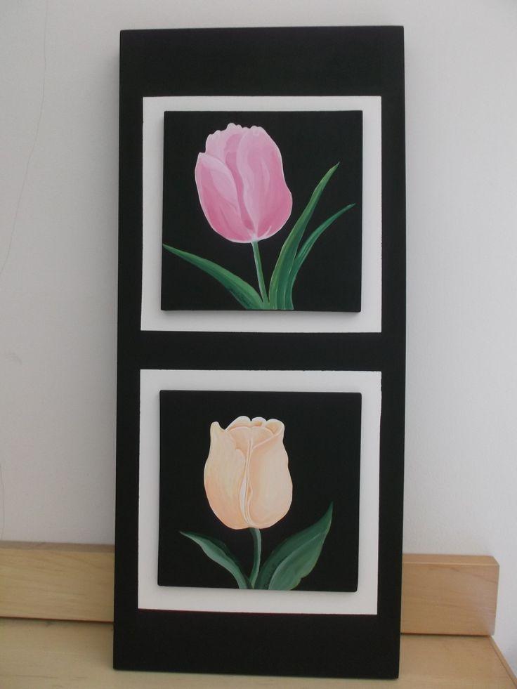 Quadro 3D piastrelle dipinte a mano su supporto MDF soggetti tulipani