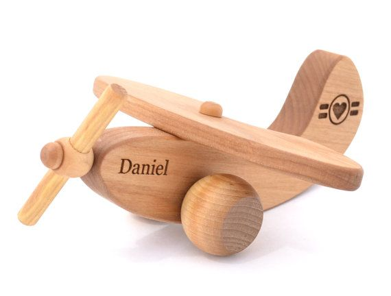 Personalized Wooden Airplane Toy - Waldorf Inspired Natural Wood Plane Toy - Montessori Eco-Friendly Gift for a Boy or Girl - Keepsake Toys