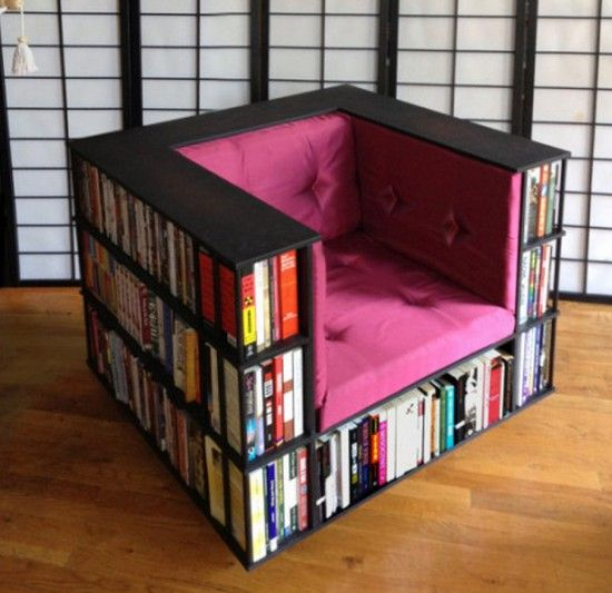 Bookshelf Chair. A little different from other bookshelf chair. I love this and want one. I read a lot of books and this just is such a creative way 2 save space and have a chair too.