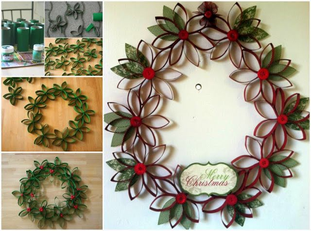 Ghirlande di natale fai da te con il riciclo creativo - Decorazioni natalizie con materiale riciclato ...
