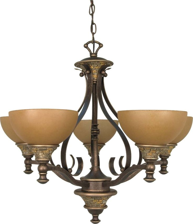 nuvo rockport tuscano 5 light 28 inch chandelier w sepia colored