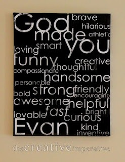I love this canvas--based on Psalm 139:14 showing all the good qualities of a child.