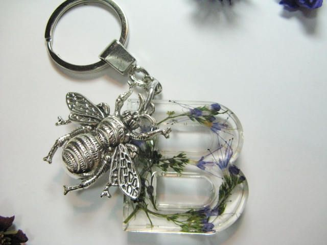Pressed Flower, Initial Keyring and Bee, Real Flower Keyring, Keychain, Initial B Bag Charm, Monogram Charm Keyring, Letter Keyring by Wireandcolour on Etsy