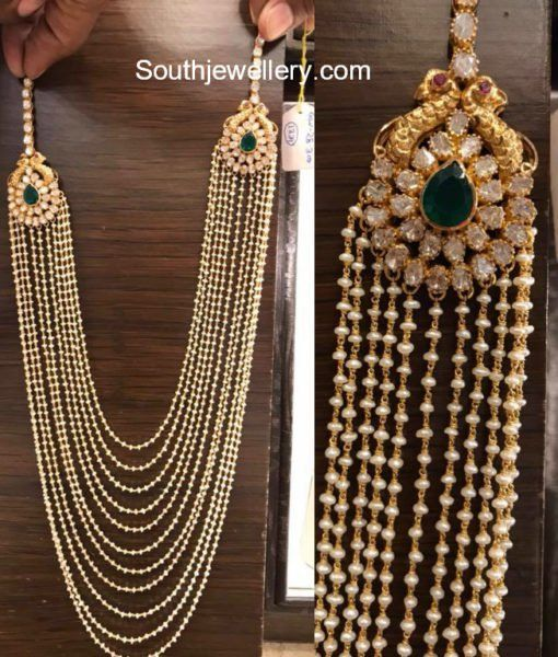 Multistring Pearls Mala with Polki Side Pendants photo  ❤❤♥For More You Can Follow On Insta @love_ushi OR Pinterest @ANAM SIDDIQUI ♥❤❤