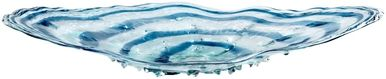 Plate CYAN DESIGN ABYSS Blue Clear Glass New CY-307