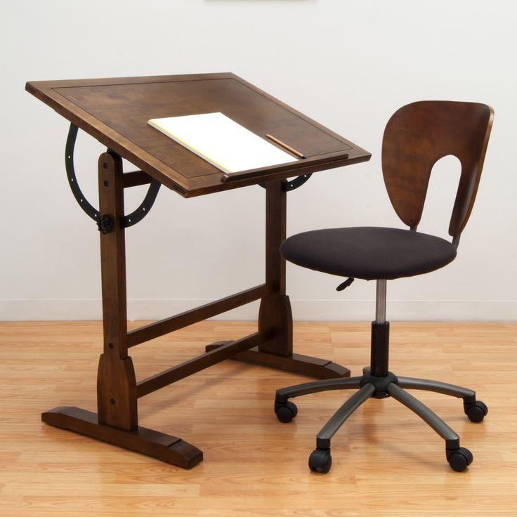 Delightful Studio Designs Vintage Drafting Table   Rustic Oak $183.99