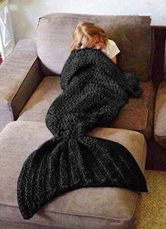 Hughapy Crochet Snuggle Knitted Mermaid Tail Blanket for Adults Teens, Kids (Black)