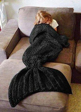Hughapy Crochet Snuggle Knitted Mermaid Tail Blanket for Adults Teens, Kids (Black)