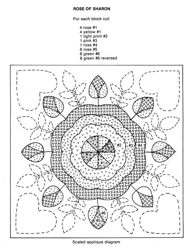 Rose-of-Sharon-quilt-pattern with templates