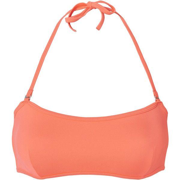 Kate Orange Bandeau Top ($59) ❤ liked on Polyvore featuring tops, orange, bandeau tops, white bandeau bikini top, bandeau bikini tops, orange top and tie neck top