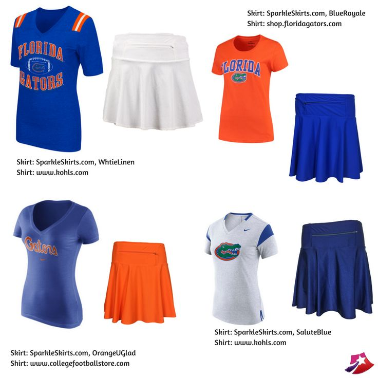 OrangeUGlad, BlueRoyale, SaluteBlue, and WhiteLinen are just a few of the many solid SparkleSkirts that work well for Florida Gators game day outfits!