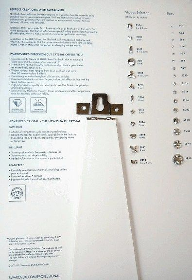 Back Of  Swarovski Flatback Color Chart With Easel Stand And