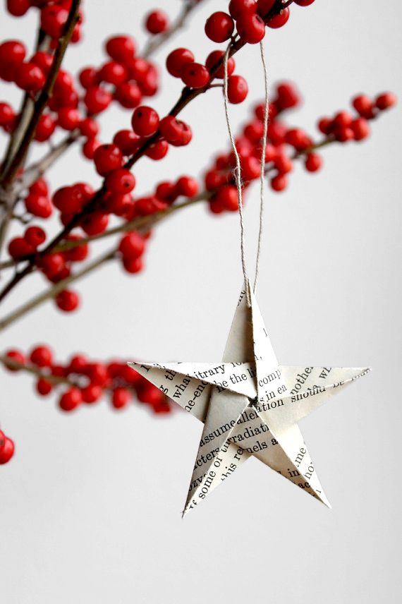 Origami star ornament. I'm going to decorate my library tree with stars like this.