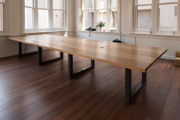Timber Revival recycled mixed Vic hardwood  workstations with powdercoated steel bases
