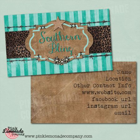 Business card southern bling design western flair with turquoise and leopard print cowboy styling