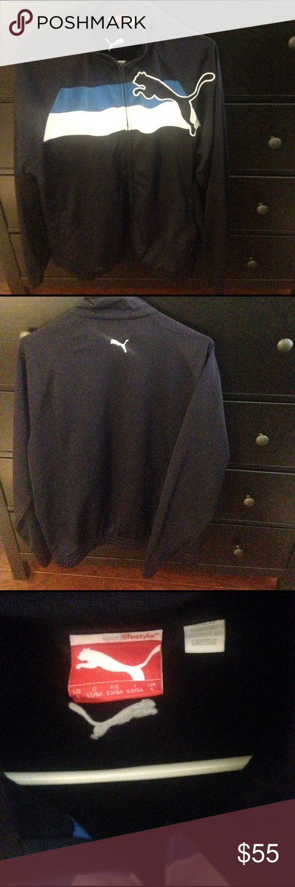 Puma zip up Navy blue zip up. Elastic around bottom hem. Two zip pockets. 100% polyester. Puma logo across chest with blue and white stripe. Please ask questions! Puma Jackets & Coats