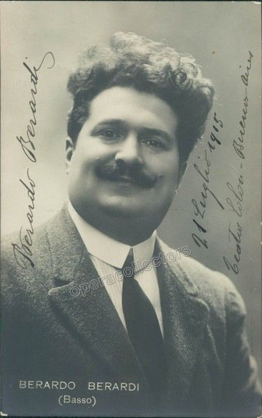 Signed photo postcard of the Italian bass, dated in 1915 in Buenos Aires, 3.5 x 5.25 inches