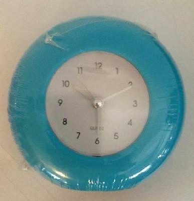 Simple Blue Analog Quartz Alarm Clock Round Vertical Design New in Sealed Pkg