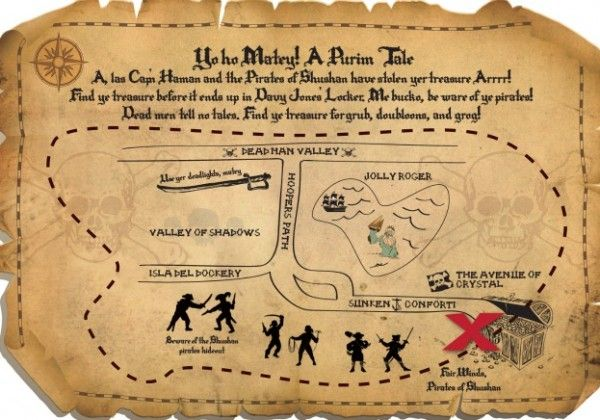 A pirate theme Purim party - map  (joy of kosher)
