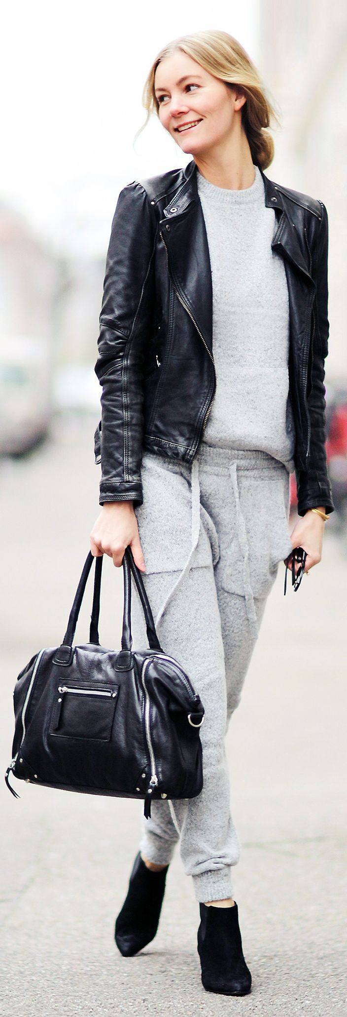 Grey Sporty Knitted Suit