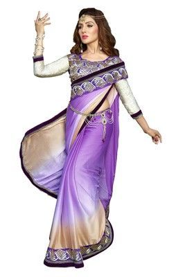 Purple embroidered georgette saree with blouse #saree #purple #partywear