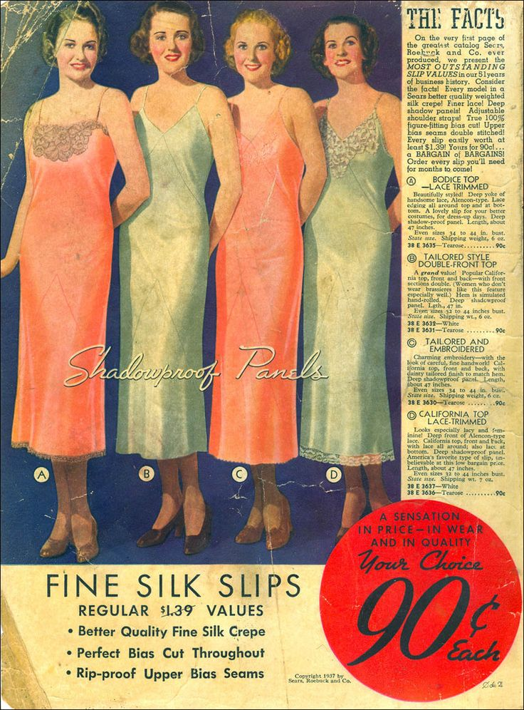ad by sears for women slips in 1937 1930s ads ladies