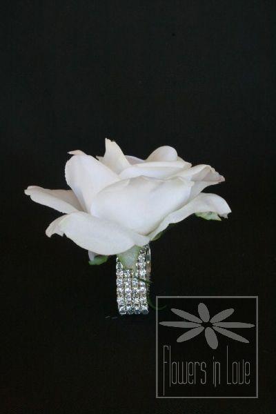 Wrist corsage - white composite rose on rhinestone bracelet