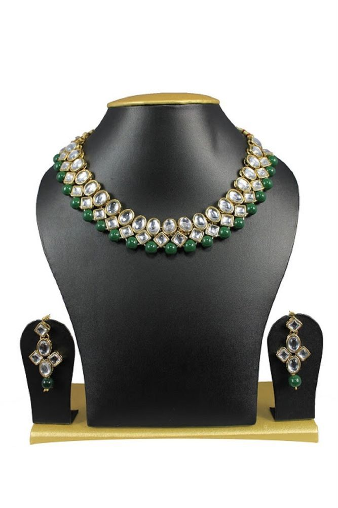 Stunning Green Pearls Indian Bollywood Kundan Women Wedding Necklace Set #natural_gems15 #GoldPlated