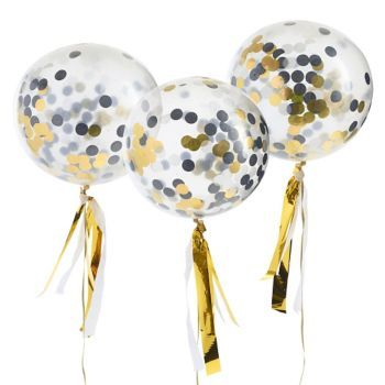 Get the party poppin' with this fun and festive confetti balloon kit! Eight balloons are included, filled with metallic confetti in black and gold. Perfect for holiday celebrations, birthdays and any other occasion you feel like getting fancy.