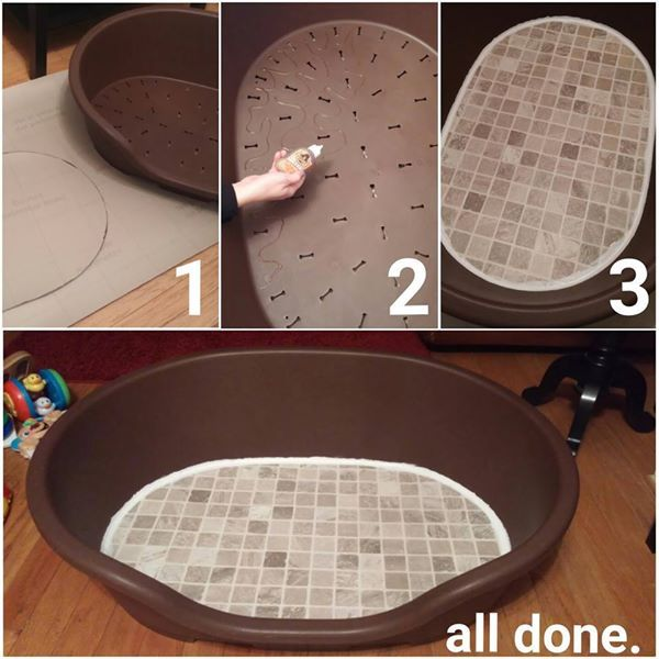 Rachel Victoria shares with us her diy litter box. It is made from a plastic dog bed that she modified into a litter box. Its the perfect size and shape but obviously needed alittle modifying to cover up the vent holes. She glued linolium to the bottom and calked around the edges to make it water proof.