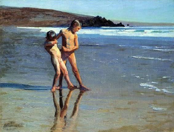 Benito Rebolledo-chicos  en la playa.jpg