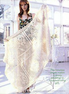 Crochet afghan, filet work ♥LCB-MRS♥ with diagram --- Crochet En Acción: Delicada manta en filet crochet