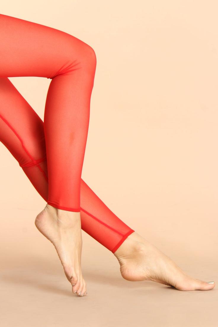 American Apparel Micro-Mesh Leggings In Scarlet