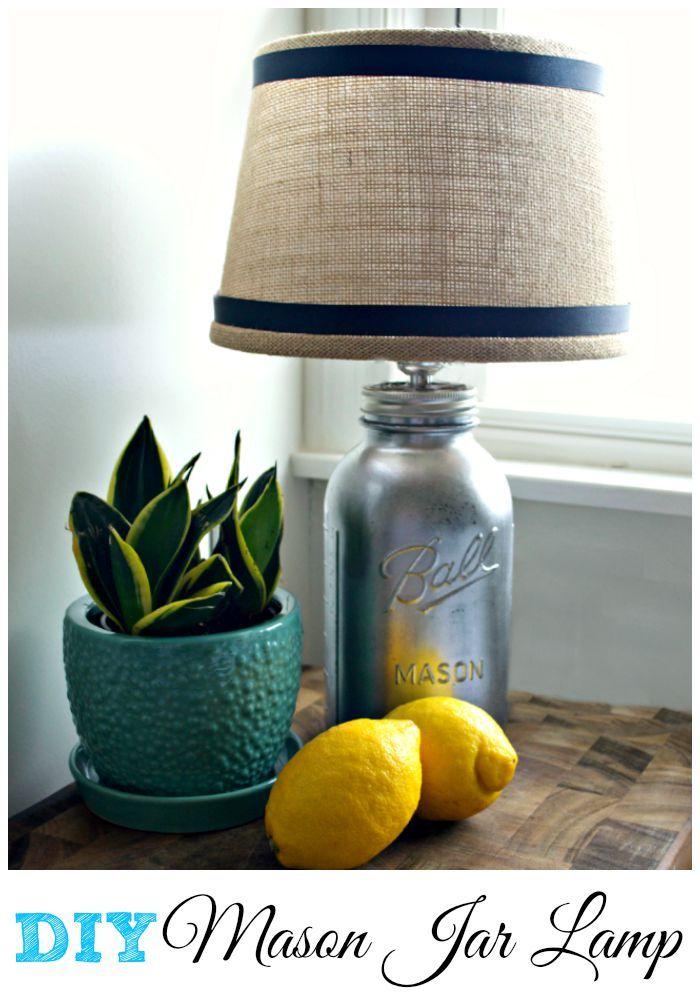 DIY mason jar lamp using Rustoleum mirror spray and a simple lamp kit. | chatfieldcourt.com