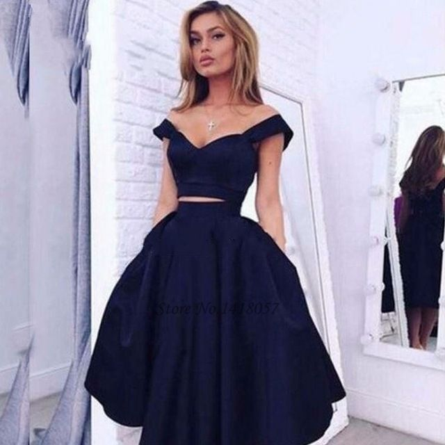 Vestido de madrinha azul marinho curto