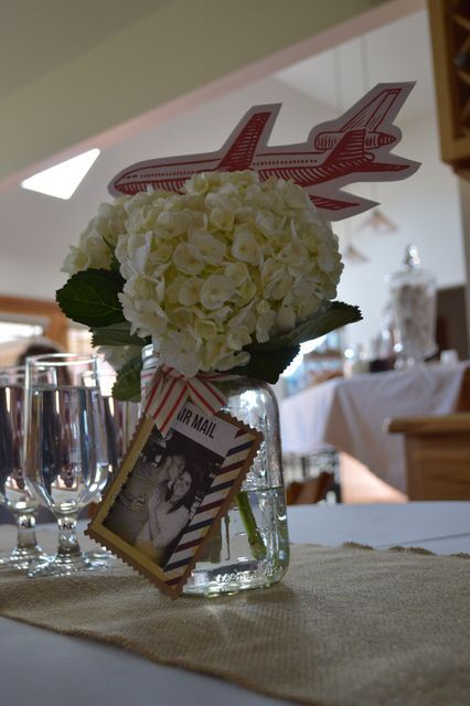 Centerpieces with baby's breath, paragraph about travel locations. Love is a Journey | Vintage Travel Bridal Shower | CatchMyParty.com