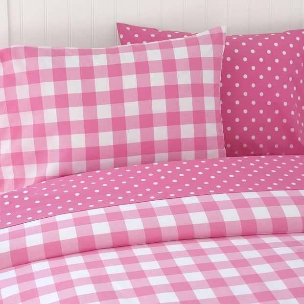 Gingham and polka dot bedding