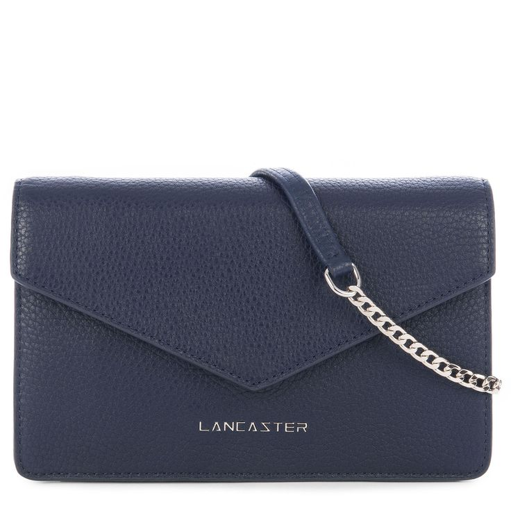Dark Blue clutch bag, Tara, Lancaster Paris. #tara #blue #navy #clutch #bag #sac #pochette #chain #leather #accessory #lancasterparis #lancaster