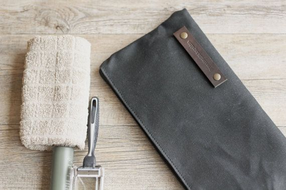 Waxed canvas case  travel case  toiletry by Creazionidiangelina