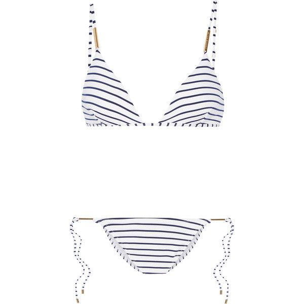 Melissa Odabash Verona striped triangle bikini (3825 TWD) ❤ liked on Polyvore featuring swimwear, bikinis, navy, triangle bikinis, melissa odabash bikini, nautical bikini swimwear, stripe bikini and tie bikini
