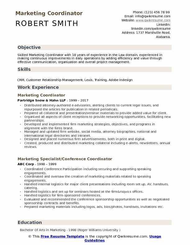 Marketing Coordinator Resume Samples Qwikresume Resume Examples Resume Template Resume Objective
