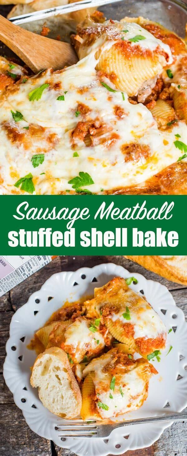 Seasoned Italian sweet sausage and beef mix together and fill these Sausage Stuffed Shells. Top with sauce and cheese for an easy Italian casserole! #italian #sausage #casserole via @tastesoflizzyt