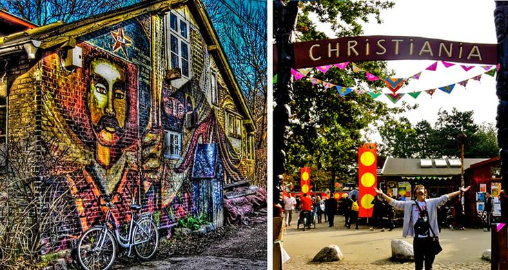 """Christiania was founded in 1971 by squatters and artists as a """"social experiment.""""  Its 84 acres lie on an abandoned military base off in the heart of Copenhagen, Denmark. The hippie commune with its own government and unique set of laws - and even its own flag, welcomes potheads, hippies,"""