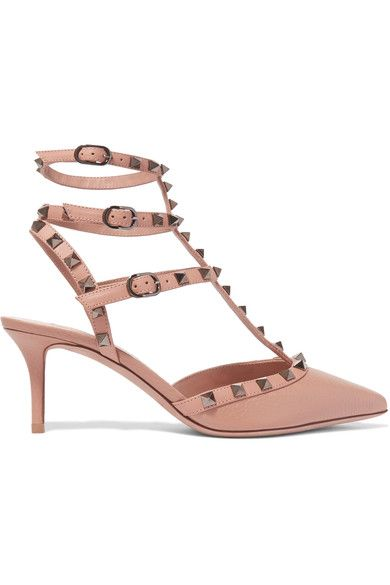 Heel measures approximately 65mm/ 2.5 inches Sand textured and smooth leather Buckle-fastening ankle straps Designer color: Noisette Made in ItalySmall to size. See Size & Fit notes.